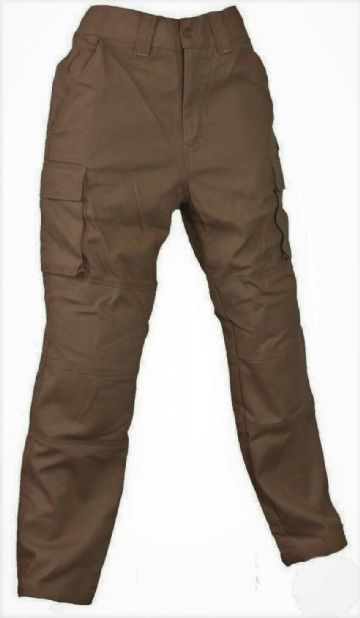 Qtech Race Motorcycle Motorbike Cargo Pants Jeans with Knee & Hip Armour - Brown